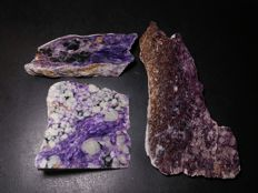Lot tiles of polished natural rare Charoite stone - 443 gm (3)