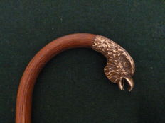 Wooden cane with eagle head handle - Italy - circa 1900