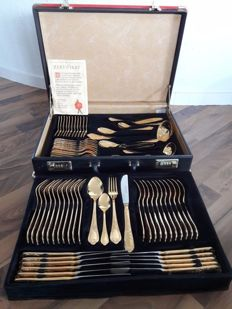 Nivella Solingen - 70 piece gold plated luxury cutlery set - cutlery for 12 people - 23/24 karat - 1000 fine gold - unused - hard gold plated - in original black box