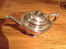 1930s Silver Plated Britannia Teapot EPBM England Etched Pattern