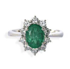 Cocktail ring with Emerald, 0.88 ct and Diamonds, 0.80 ct, F, VVS - Ring size: 14 mm