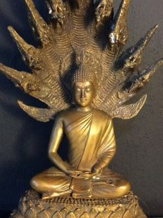 Beautiful, bronze, Naga Buddha statue - India - late 20th century