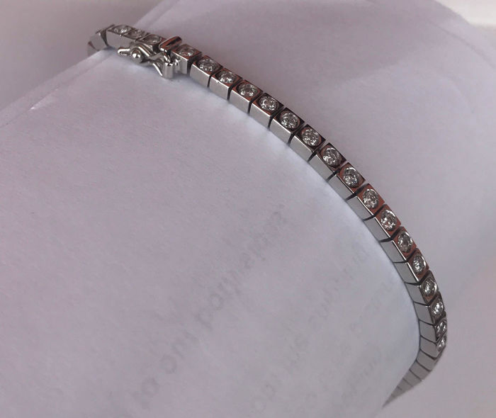 18k White gold and diamonds tennis bracelet - 20cm