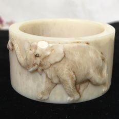 Ivory carved napkin ring, certificate inc. - Japan - 1900