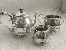 Ornate vintage silver plated set of three tea set Embossed design, maker. PHILIP ASHBERRY & SONS OF ENGLAND. First half of 19th