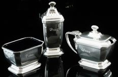 3 Piece Silver Condiment Set & Glass Liners, Birmingham 1954, Garrard & Co Ltd