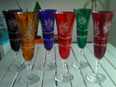 6 colourful high-quality lead crystal glasses (sparkling wine/champagne/aperitif) - 24% PbO