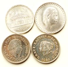 Egypt and Monaco - lot of different coins 1966/1985 (4 pieces) - silver