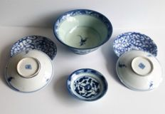 Lot of 6 Chinese items including bowl and saucers – China – 19th century