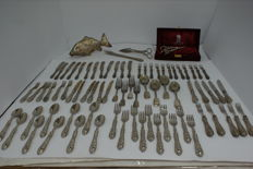 Set of 78 pieces marked 800 silver with nice finishes and inlays