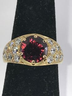 18k luxury Amethyst and diamonds gold ring size 54