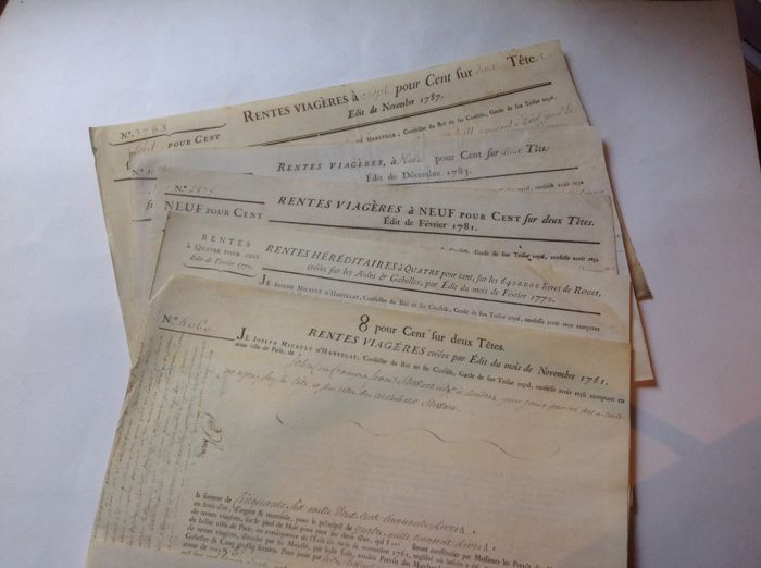 5 annuities on parchment (receipts) for sums between 1,000 and 56,200 pounds - 1761/1787