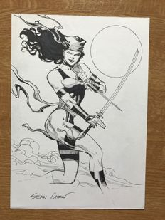 Original Signed Drawing By Sean Chen -  Marvel Comics -  Elektra