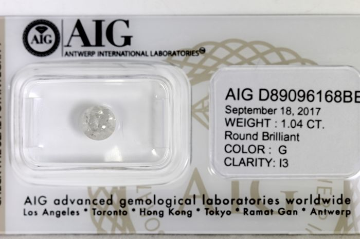 AIG Sealed Diamant - 1.04 ct - G, I3 - * NO RESERVE PRICE *