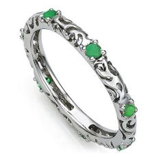 14 kt White Gold Wedding Band With Emerald 0.24 ct ***No reserve price***