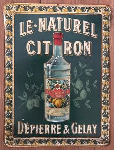 Advertising plate in metal sheet for DEPIERRE & GELAY, 40x30cm
