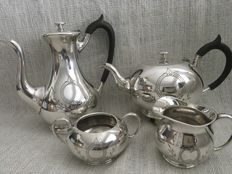 Ornate Vintage silver plated set of four tea and coffee set , JAMES DIXON & SONS OF SHEFFIELD ENGLAND , First Half Of 19th Century