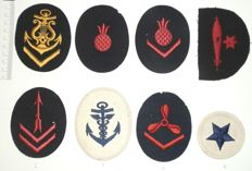Collection of 8 German fabric Kriegsmarine insignia