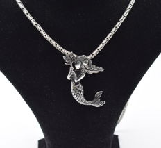925 Italian sterling silver chain with Mermaid pendant   - 65  cm