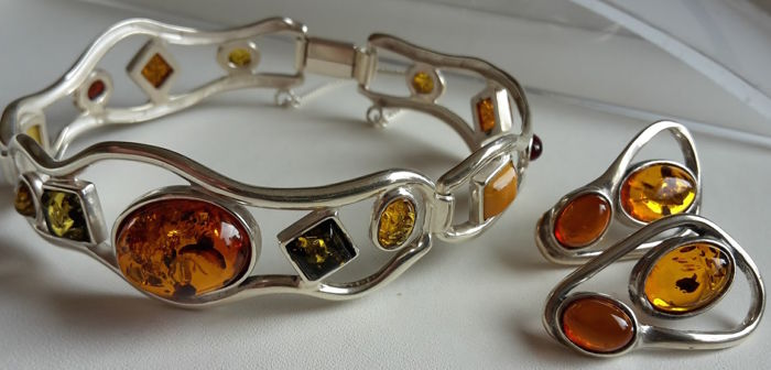 Earrings & bracelet circuit 18 cm - natural Baltic amber - Silver 925 - UV test