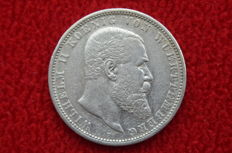 German Empire, Württemberg - 5 Mark 1907 F - silver