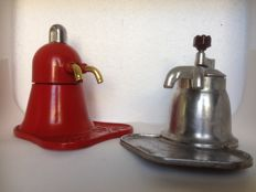 Two vintage espresso machines for two cups in aluminium
