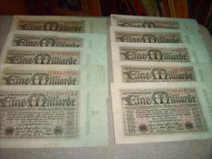 Germany - 230 Reichsbank notes, 23 different varieties, 10 x each