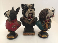 Dogs postures - Lot of three statues