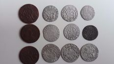 Poland, Germany, Sweden, Hungaria - Lot various coins 16e and 18e century (total 27 pieces) incl. silver