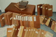 Presentation box with sixty-four various types of wood