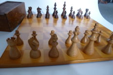Antique art deco wood chess game Germany circa 1930, very rare