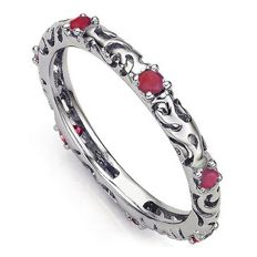 14 kt White Gold Wedding Band With Ruby 0.24 ct ;    size 7 US
