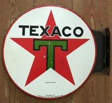 "Old enamelled plate, ""1940"" TEXACO, 44x40cl"
