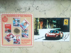 "San Marino Ferrari Collection, 2005, Six original Stamps "" Ferrari collection"", one uncirculated 1 Euro Coin"