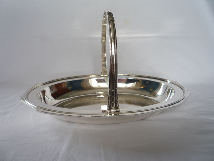 Silver plated Art Deco serving tray with handle, France, ca. 1930