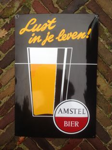 Enamel advertising sign AMSTEL BIER - Lust in je leven! - ca. 2nd half 20th century