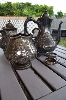 Silver plated metal tea and coffee service