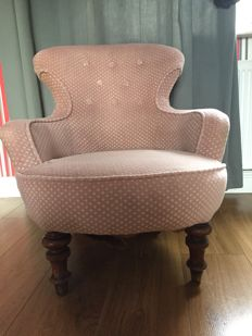 Victorian Bergere / bedroom chair with later upholstery - 19th century, England