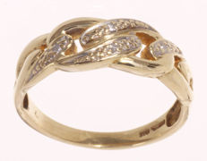 Yellow gold ring, model gourmet link, set with 0.03 ct. 8/8 cut diamond - Ring size: 54