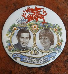 Enamel Plate - Marriage Charles, Prince of Wales & Lady Diana Spencer