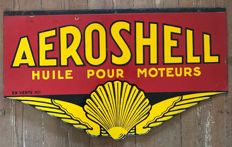 "Old enamelled sign, ""1950'' AEROSHELL"