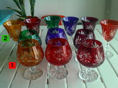 2 x 6 colourful high-quality lead crystal glasses (cognac/aperitif/liqueur/schnapps) - 24% PbO