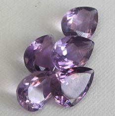 5 Amethyst - 22,66 ct total