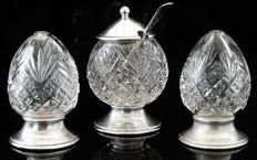 Unusual Silver & Cut Glass Condiment Set in Original Case, Birmingham 1925, George Unite