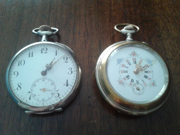 Pair of silver pocket watches 1870-1900 Remontoir Eclipse Deposé