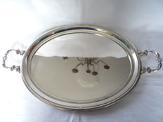 Large heavy silver plated serving tray, France, Ca. 1930