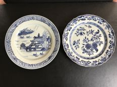 Pair of blue and white porcelain plates - China - 18th century