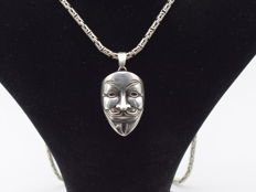 925 Italian sterling silver chain with Mask   pendant   - 65  cm
