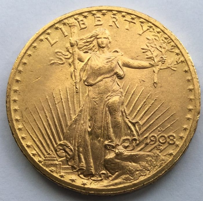 United States 20 Dollars 1908 St Gaudens Double Eagle Gold