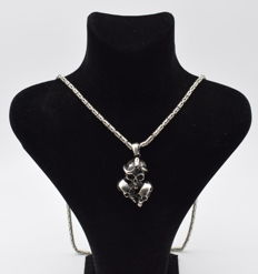 925 Italian sterling silver chain with  Skull   pendant   - 65  cm
